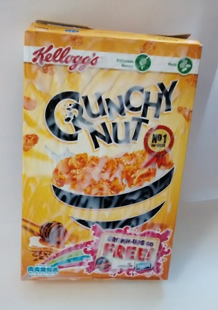 Cereal box with glue on top